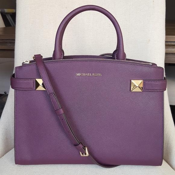 b8442dfc5481 NWT Michael Kors MD Karla satchel bag purse damson